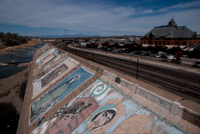 The largest mural in the world is painted on the levee along the Arkansas River protects  that protects Pueblo from flooding. - Photo by Shanna Lewis