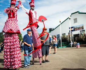 Stilt walkers entertain the crowd at the 2018 Colorado State Fair in Pueblo - Photo by Shanna Lewis